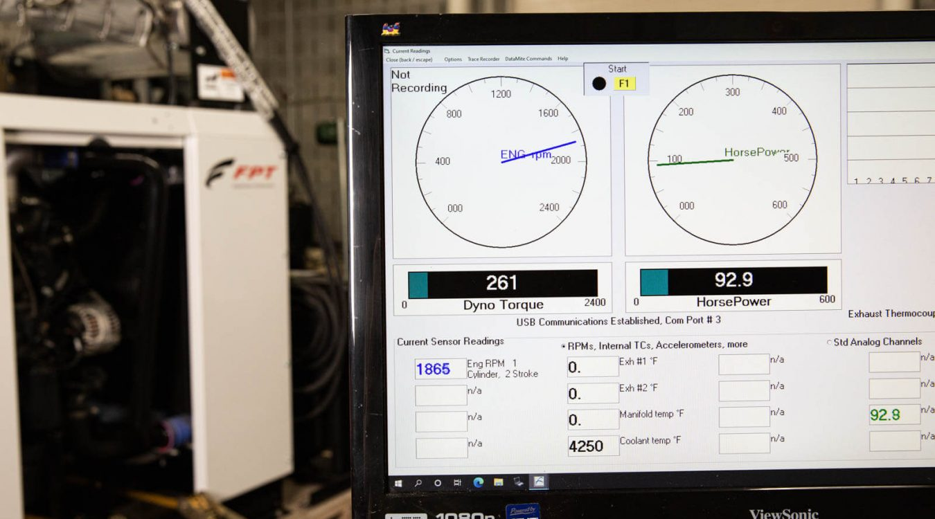 computer showing dyno test